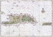 English: Nautical chart of Hispaniola and Puerto Rico. Ink and watercolor with pictorial relief. Français : Carte nautique des îles d'hispaniola et Porto Rico. Encre et aquarelle.