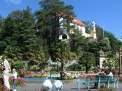 Panoramic view of the central piazza at Portmeirion
