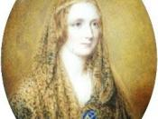 Reginald Easton painted this miniature portrait of Mary Shelley, on a flax coloured background. It incorporates a circlet backed by blue, the same seen in the Rothwell painting and a shawl. (Seymour, Mary Shelley, p 543)