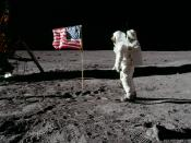 Buzz Aldrin salutes the U.S. flag on Mare Tranquillitatis during Apollo 11 in 1969.