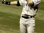 Ichiro's pre-pitch batting stance, May 2005. Photo by Googie Man 06:28, 29 May 2005 . . Googie man . . 601×1300 (271,628 bytes)