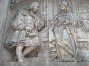 English: Christopher Colombus and Queen Isabella of Castile. Detail of the monument to Colombus at the Plaza de Colón (
