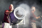 English: RIVERSIDE, Calif., (Oct. 13, 2010) General Atomics technician Rigo Brambila, left, and scientist Rick Lee fire smoke rings at the audience during the 11th annual Science and Technology Education Partnership (STEP) Conference. The event, sponsored