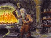 English: Thorin Oakenshield in his forge Français : Thorin « Écu-de-chêne » dans sa forge. Česky: Thorin Pavéza ve své kovárně