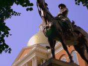 English: Equestrian statue of Joseph Hooker outside Massachusetts Statehouse.