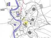 Français : Plan de Rome avec l'Aqua Virgo en rouge.