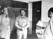 1951.06.22 대한민국 육군참모총장 이취임식(좌로부터 이종찬, 정일권, 이기붕 순)