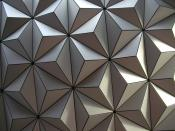 A close-up shot of Spaceship Earth's tiles at Epcot in Walt Disney World, made of Alucobond