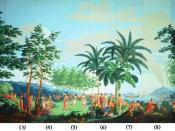 English: 'Sauvages de la Mer Pacifique', panels 1-10 of woodblock printed wallpaper designed by Jean-Gabriel Charvet and manufactured by Joseph Dufour et Cie