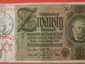 GERMANY 1929, OBSOLETE 20 REICHSMARK PAPER BILL USED WITH TWO INK STAMPS FOR USE IN A JEWISH GHETTO OR CONCENTRATION CAMP side A
