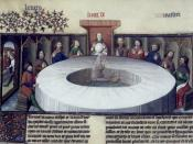 The Round Table experience a vision of the Holy Grail. From a 15th century French manuscript.