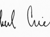English: Michael Crichton signature (circa 1993).