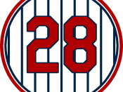 English: Minnesota Twins 28, representing Bert Blyleven's retired number sign at Target Field.