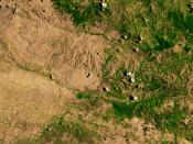 English: Satellite image showing deforestation in Haiti. This image depicts the border between Haiti (left) and the Dominican Republic (right).