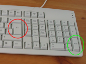 Return (red/left circle) and Enter (green/right circle) buttons on a keyboard.