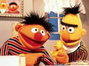 Bert (right) and Ernie (left) with his rubber duckie .