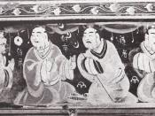 Paragons of filial piety, Chinese painted artwork on a lacquered basketwork box. It was excavated from an Eastern Han tomb of what was the Chinese Lelang Commandery in what is now North Korea. Each of the figures are about 5 cm tall. It is now located at