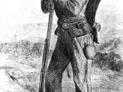 Drawing of a black Union Army infantryman