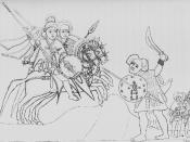 Sketch of an Ethiopian battle scene, as drawn by Henry Salt.