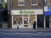 An Oxfam charity shop in Covent Garden, London. Mitty established the first Oxfam charity shop in Oxford.