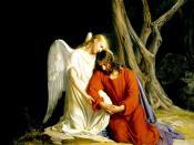 An angel comforting Jesus before his arrest in the Garden of Gethsemane