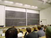 A mathematics lecture, apparently about linear algebra, at Helsinki University of Technology (HUT) — Teknillinen korkeakoulu (TKK) in Espoo Finland.