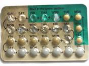 Photograph of a half-used blister pack of Levlen®ED oral contraceptive pill.