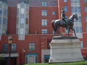 This equestrian statue of the 9th President William Henry Harrison is in downtown Cincinnati. He was a war hero from the War of 1812 as the military leader of the Battle of Tippecanoe. It is located at the corner of Elm St. and 8th Ave (And Garfield Pl.)