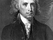 James Madison, half-length portrait, seated, facing right, with documents in hand.