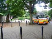 English: Who's for ice cream, Winchester A pleasant summers afternoon and people wait beside the van for ice creams.