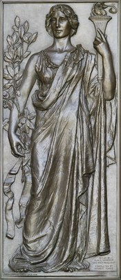 English: Research. Olin Warner (completed by Herbert Adams), 1896. Right bronze door at main entrance of the Library of Congress Thomas Jefferson Building.
