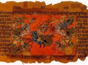 Manuscript illustration of the Mahabharata War, depicting warriors fighting on horse chariots