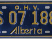 English: In 1974 Alberta issued it's first O.H.V. (offroad vehicle plate) as now snomobiles and dirt bikes were also licensed as off highway vehicles as only snowmobiles had been prior to 1974.