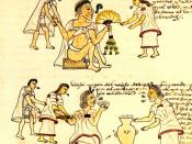 An illustration from Codex Mendoza depicting elderly Aztecs smoking and drinking pulque.