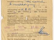 Attestation for sick leave; issued in 1955 in Germany (anonymized data).
