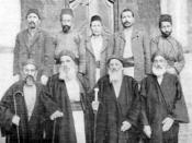 Rabbi Jacob Saul Dwek and officials of the great synagogue of Aleppo. This photo is taken from a book. It shows the influencial Rabbi and officials of aleppo's great synagogue. Aleppo was one of the main centers of Judaism.