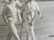 English: Don Bradman and Sid Barnes walk from the field in the match when both scored 234 v England in Australia