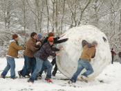 Enormous snowball made in South Park in a snow-covered Oxford