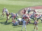 A field goal attempt by Philadelphia Eagles kicker David Akers (#2) is blocked in a regular season game at the San Francisco 49ers. The 49ers returned the blocked kick for a touchdown in the Eagles' 40-26 victory.