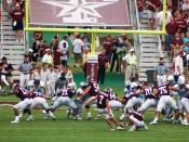 Matt Szymanski kicking an extra point at the 2006 Texas A&M vs. The Citadel college football game