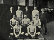 Portrait of the University of Michigan varsity basketball team 1909