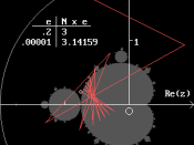 English: Pi approximation by the Mandelbrot fractal.
