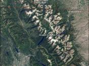 Landsat 7 natural-color image of Glacier National Park (USA) and Waterton Lakes National Park.