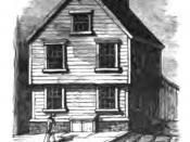 English: Etching of Benjamin Franklin's birthplace on Milk Street, Boston