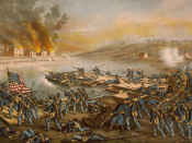 English: Battle of Fredericksburg: The Army of the Potomac crossing the Rappahannock: in the morning of December 13, 1862, under the command of Generals Burnside, Sumner, Hooker & Franklin.