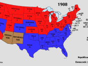 Electoral votes by state, 1908.