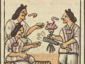 Aztec women are handed flowers and smoking tubes before eating at a banquet, Florentine Codex, 1500