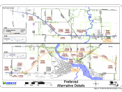 Planning maps of the proposed bypass of Constantine, Michigan along U.S. Route 131. These are panels 1 and 2 of a 4-panel set illustrating the location of the proposed road and changes to other roadways. Note: North is to the right.