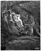 Gustave Doré's illustration to Dante's Inferno. Plate XVIII: Canto V: Dante is so overcome by the sad tale of Francesca di Rimini that he faints. Yes really. And he fainted as he was being brought into Limbo, too. What is this, a romance novel? Let's chec