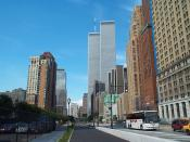 English: World Trade Center and surrounding buildings.